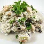 Blomkålsrisotto med rejer og champignon