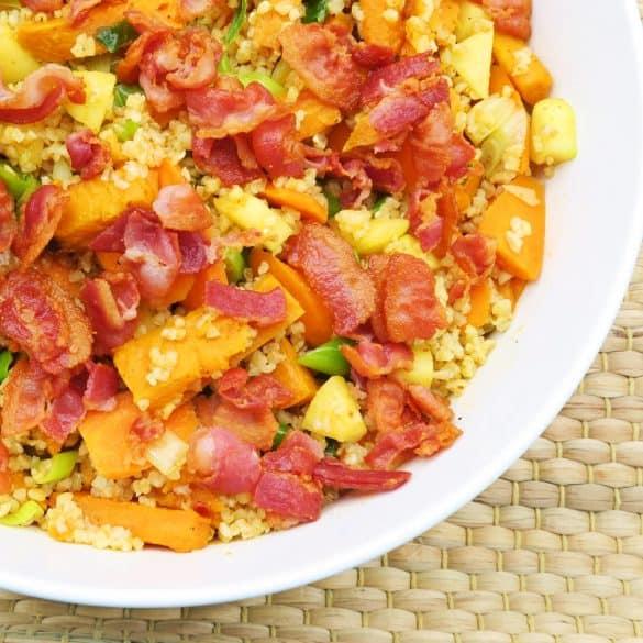 Bulgursalat med rodfrugter og bacon