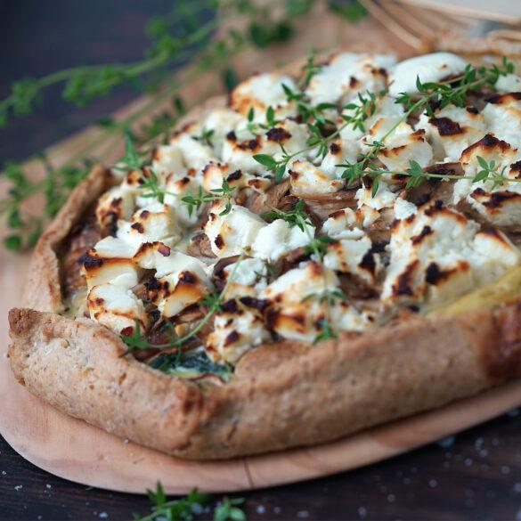 Galette med champignon, spinat og feta