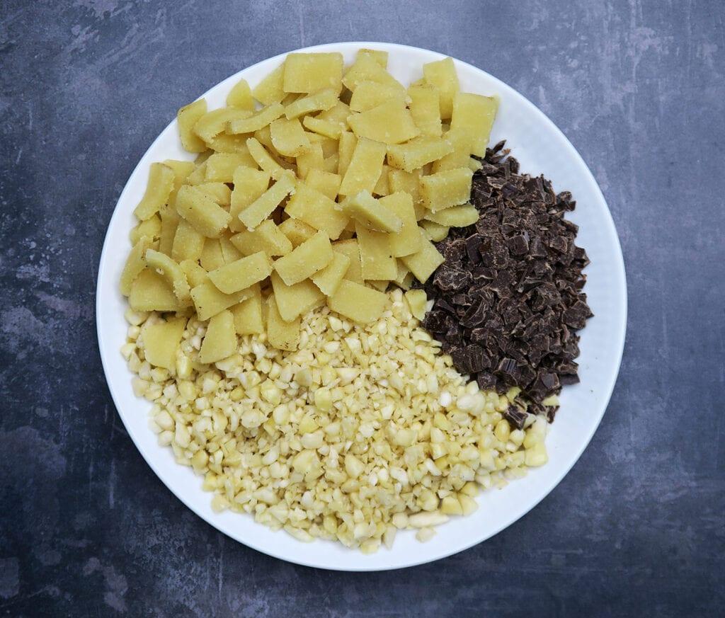 Mandler, chokolade og marcipan