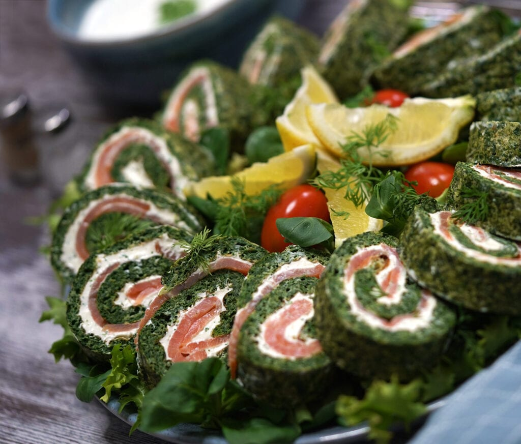 Spinatroulade med laks